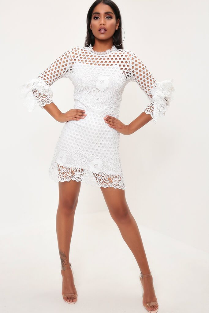 White Crochet Lace And Mesh Mini Dress view 2