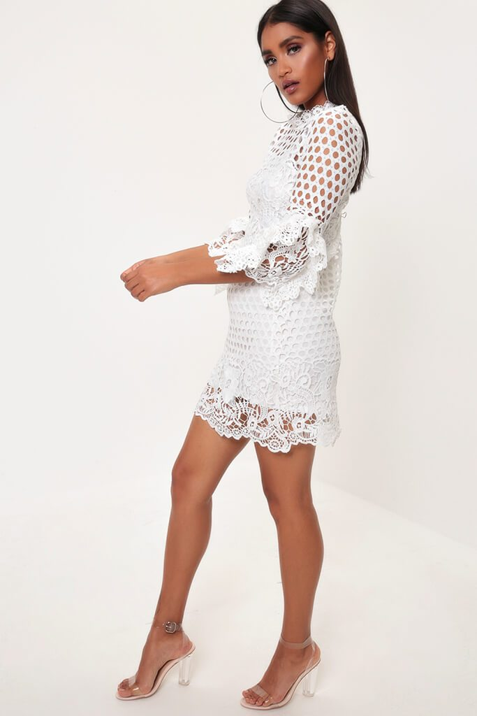 White Crochet Lace And Mesh Mini Dress view 3