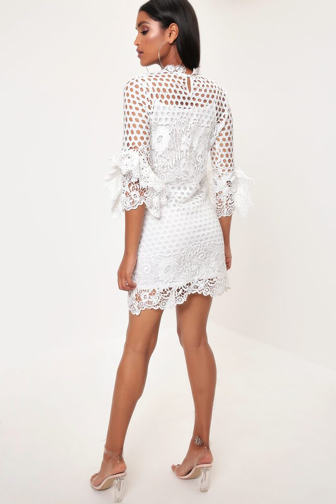 White Crochet Lace And Mesh Mini Dress view 5