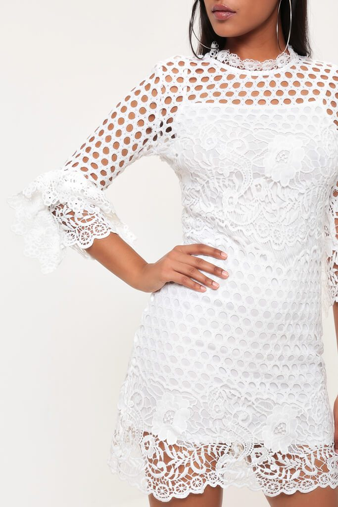 White Crochet Lace And Mesh Mini Dress view 4