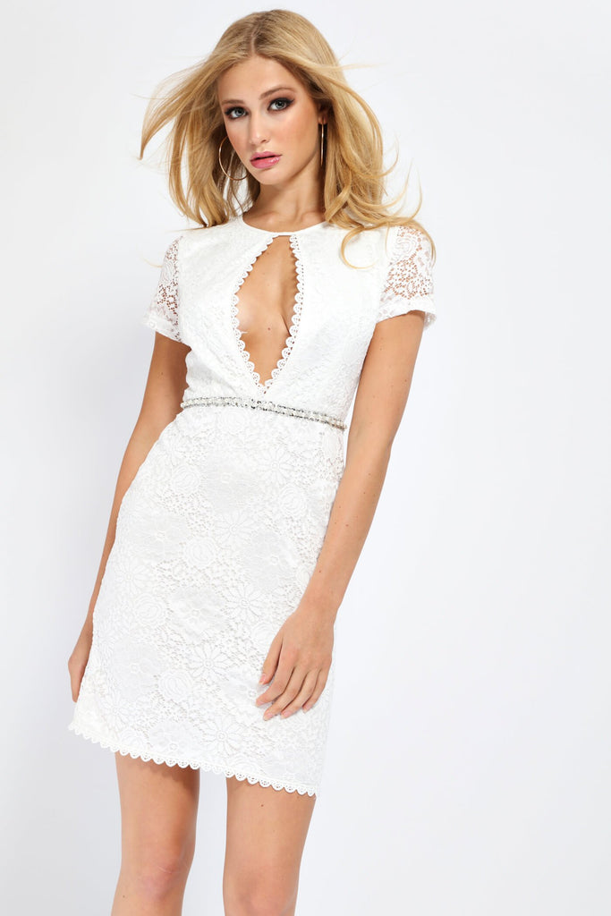 White White Scallop Front Lace Mini Dress With Diamante Belt