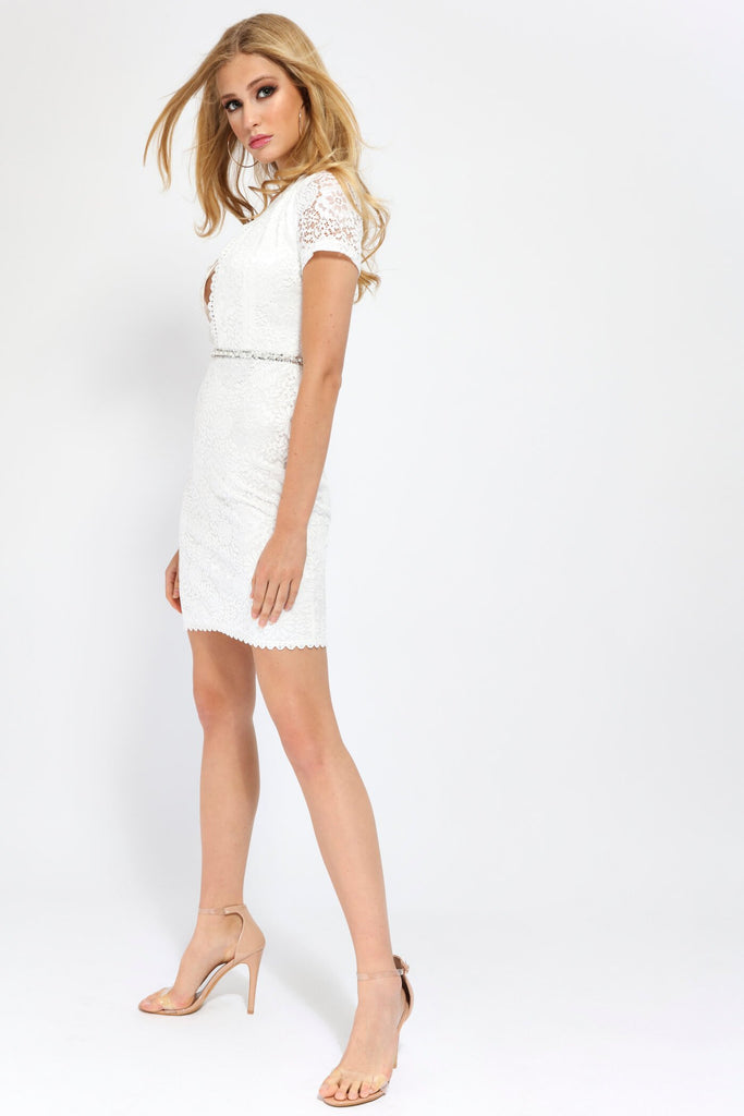 White White Scallop Front Lace Mini Dress With Diamante Belt view 4
