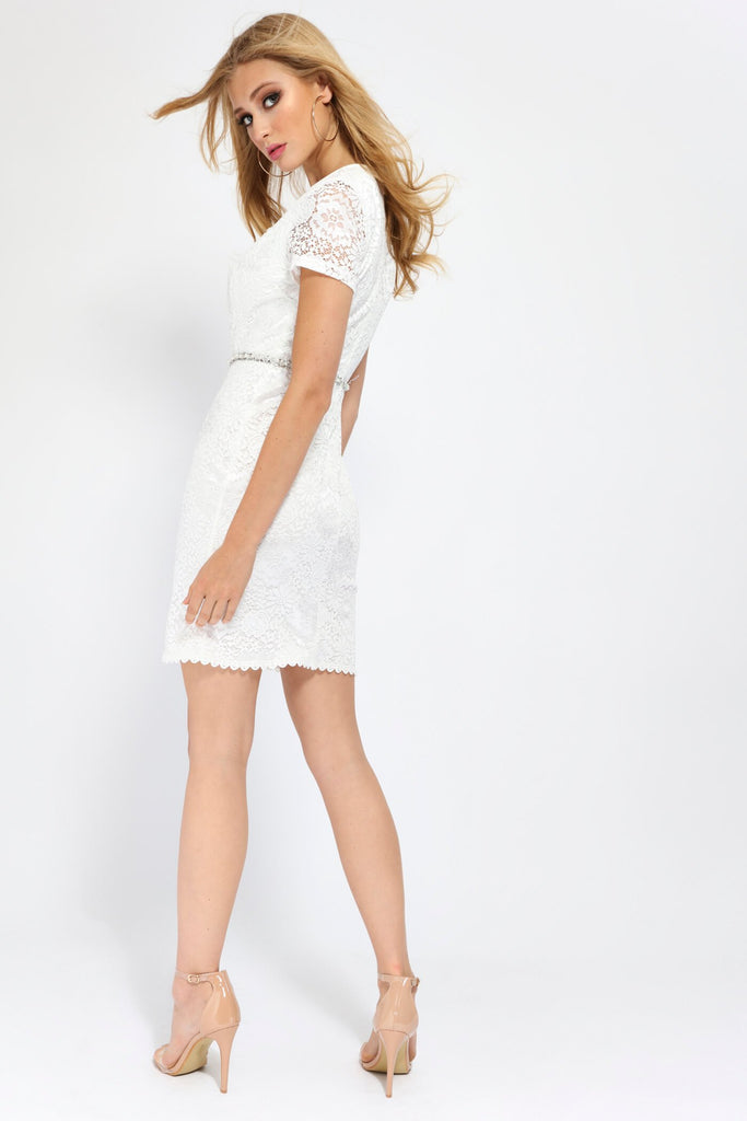 White White Scallop Front Lace Mini Dress With Diamante Belt view 5