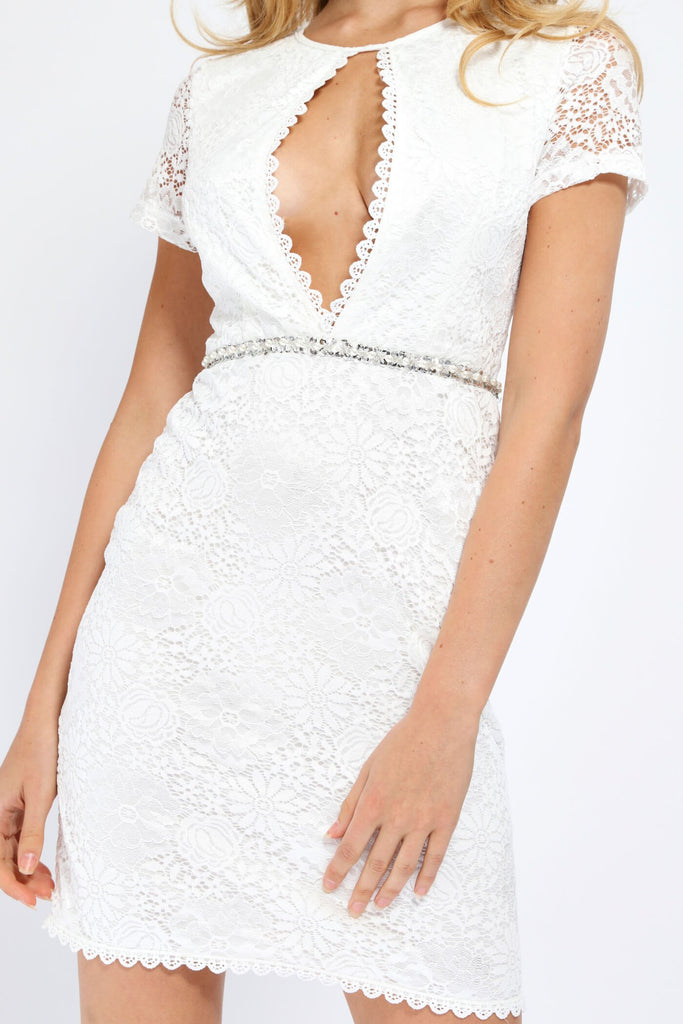 White White Scallop Front Lace Mini Dress With Diamante Belt view 3