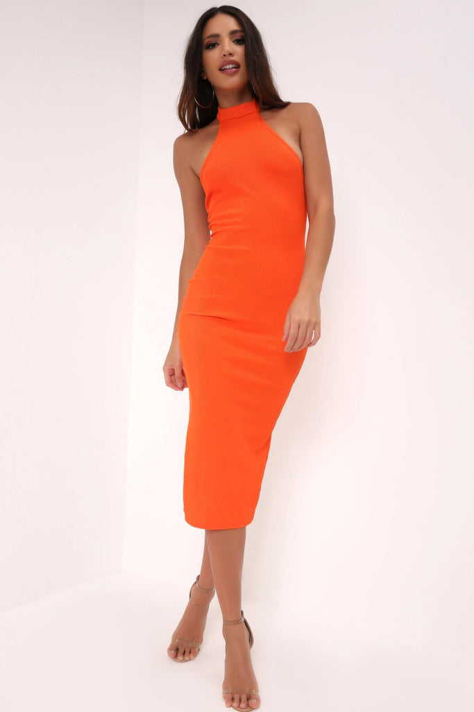 Orange High Neck Backless Midi Dress view main view