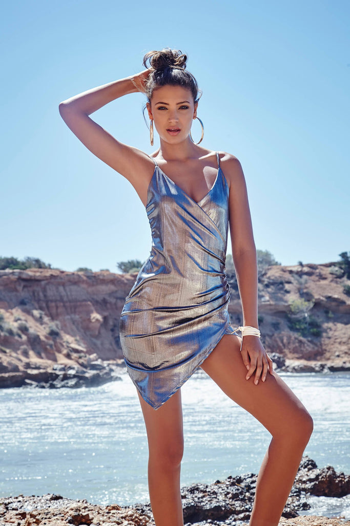 Silver/ Foil Wrap Over Cami Mini Dress With Ruched Side
