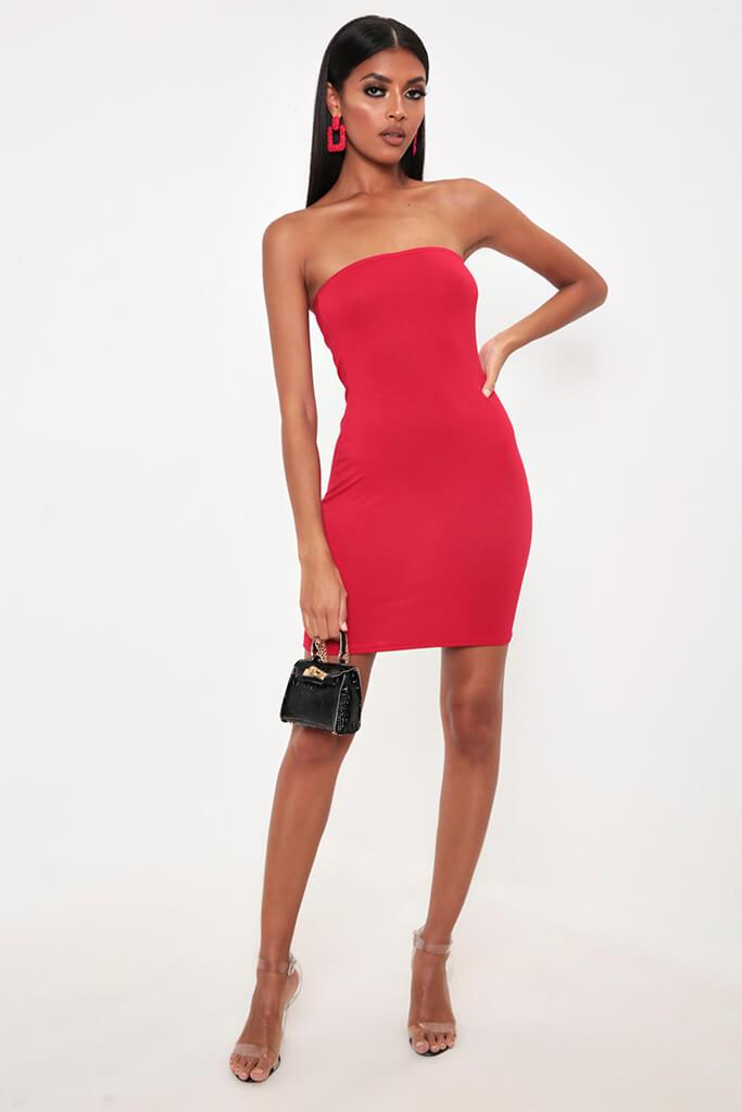 Red Bandeau Bodycon Dress view 2