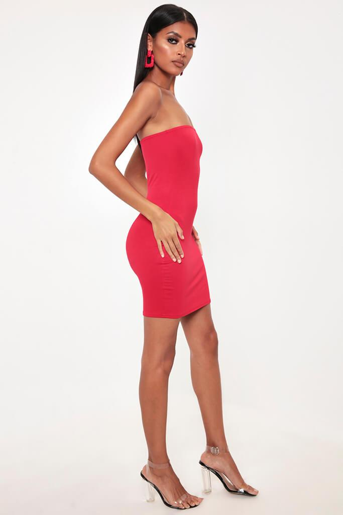 Red Bandeau Bodycon Dress view 3