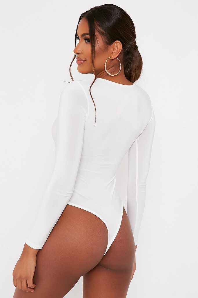 White Crew Neck Thong Bodysuit view 4