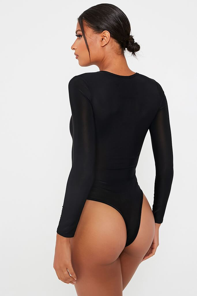 Black Crew Neck Thong Bodysuit view 5
