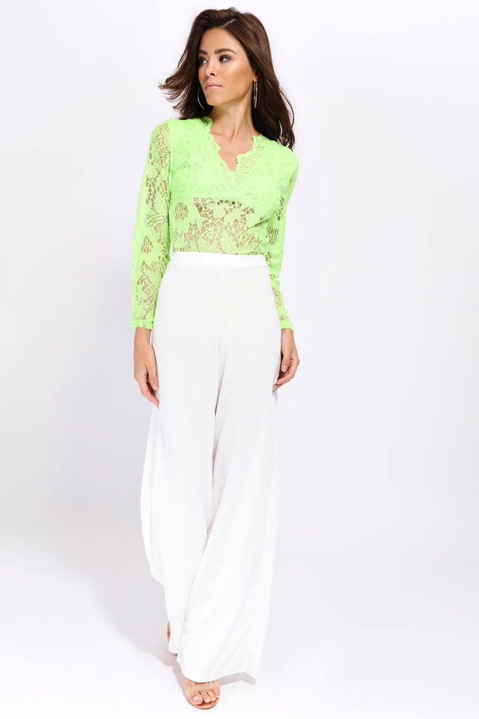 Lime Scallop Long Sleeved Lace Bodysuit