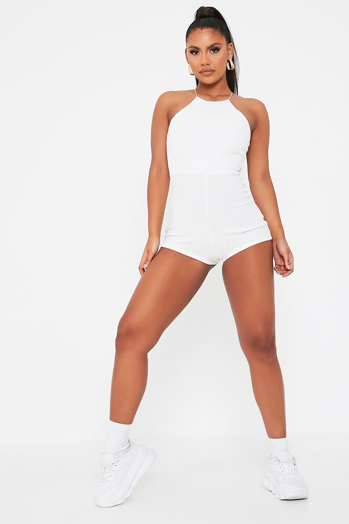 Cream High Neck Playsuit view 2