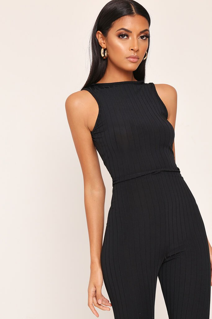 Black Ribbed Scooped Back Jumpsuit view 2