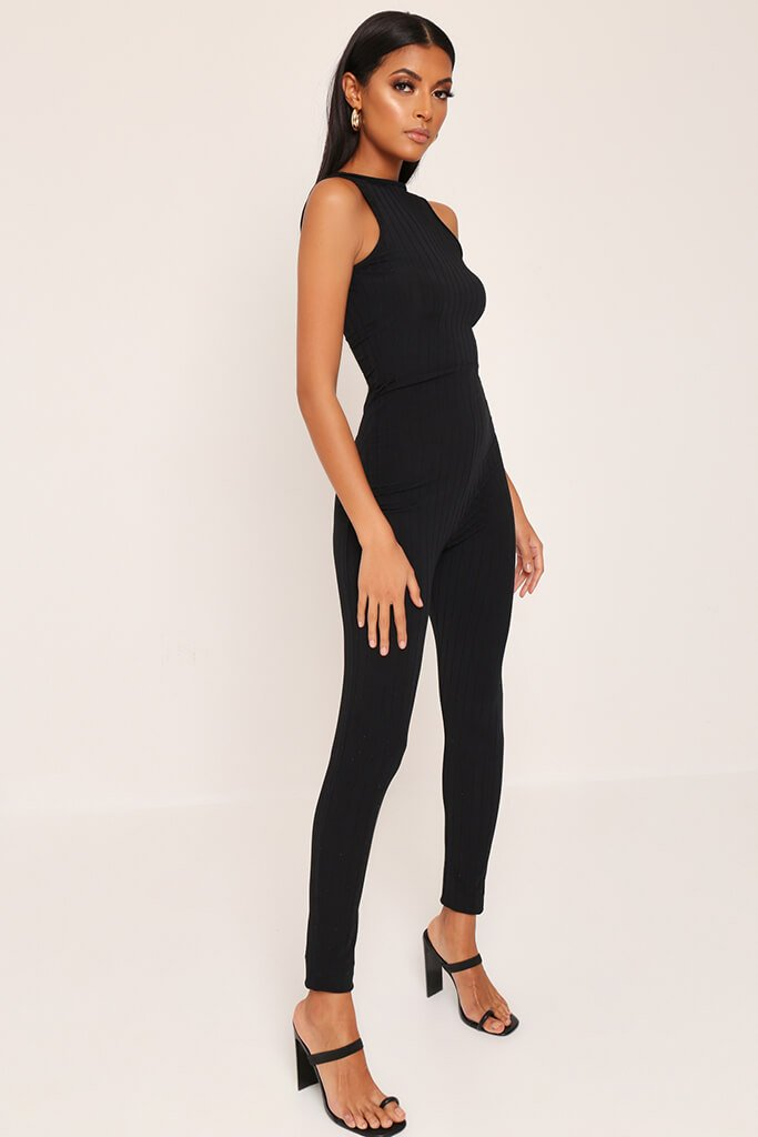 Black Ribbed Scooped Back Jumpsuit view 3