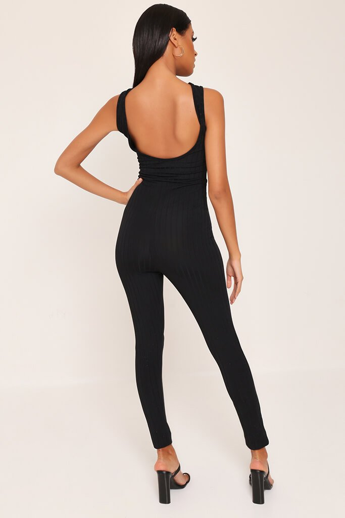 Black Ribbed Scooped Back Jumpsuit view 5