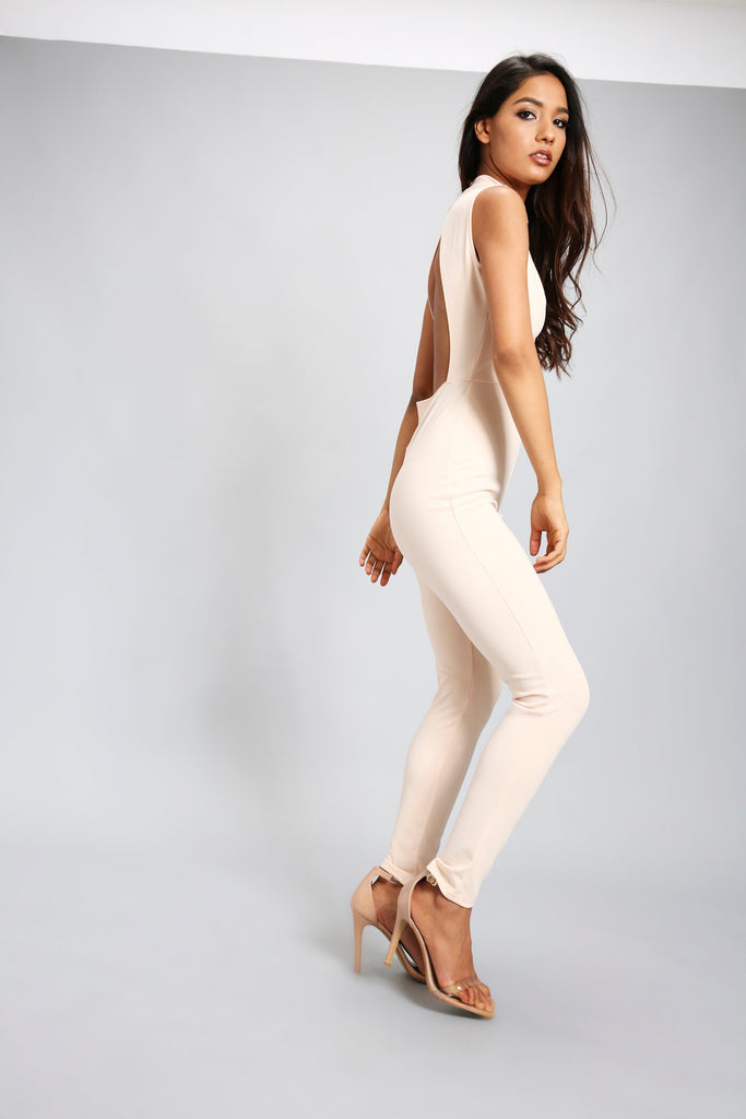 Nude Lace Up Front Backless Jumpsuit
