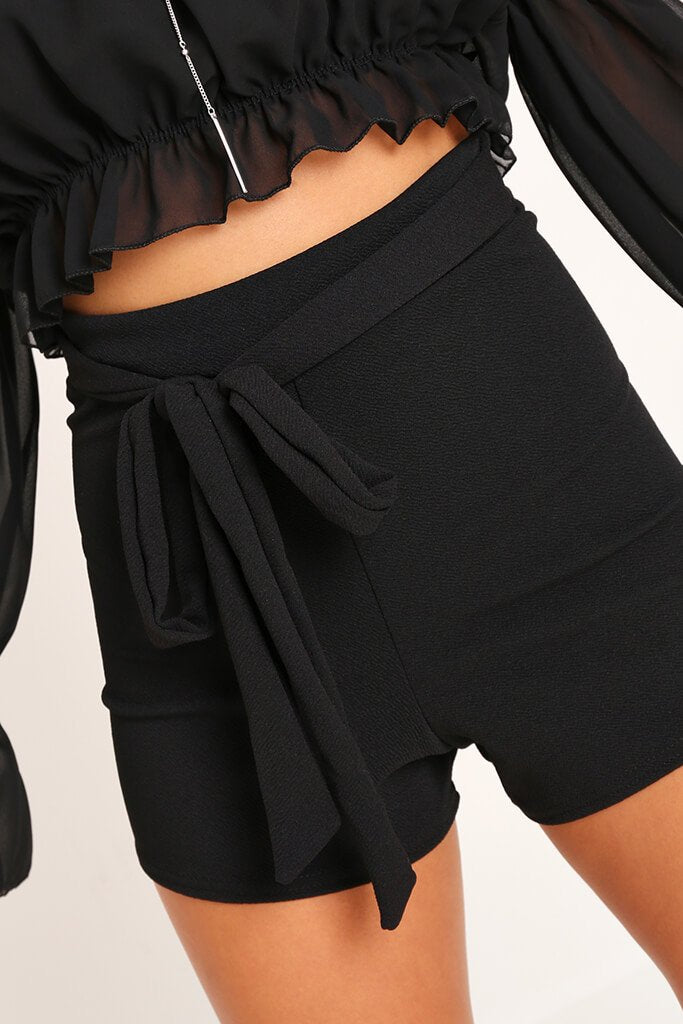 Black High Waisted Tie Shorts view 3