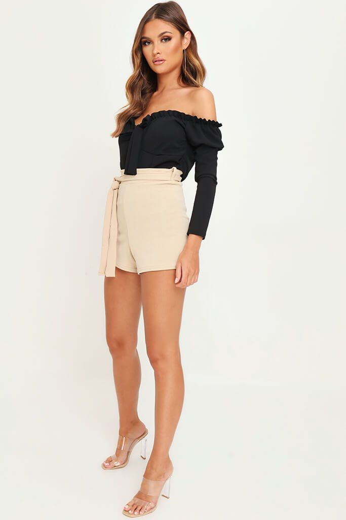 Sand High Waisted Tie Shorts view 3