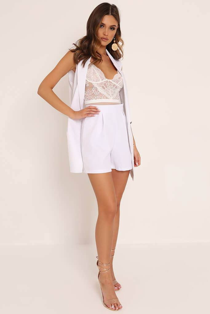 White High Waisted Inverted Pleat Shorts view 2