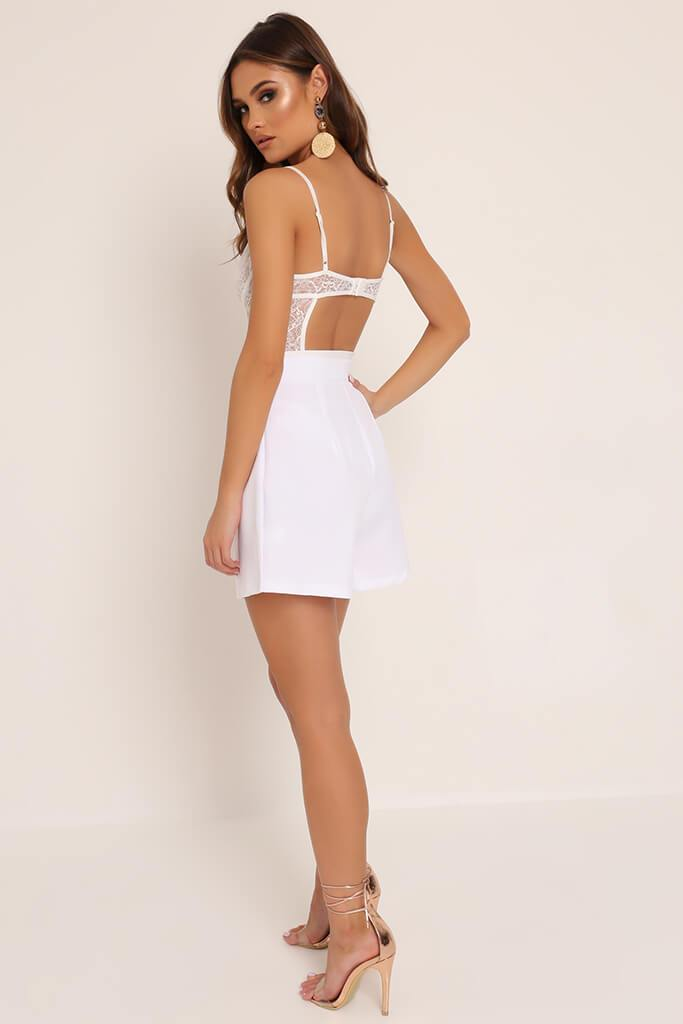 White High Waisted Inverted Pleat Shorts view 5