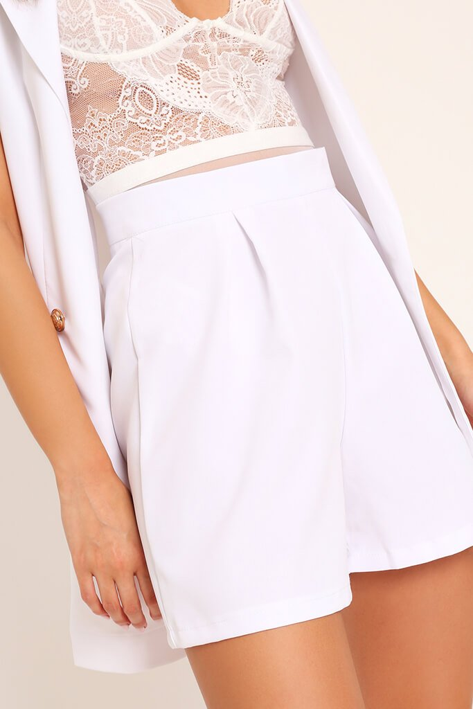 White High Waisted Inverted Pleat Shorts view 4