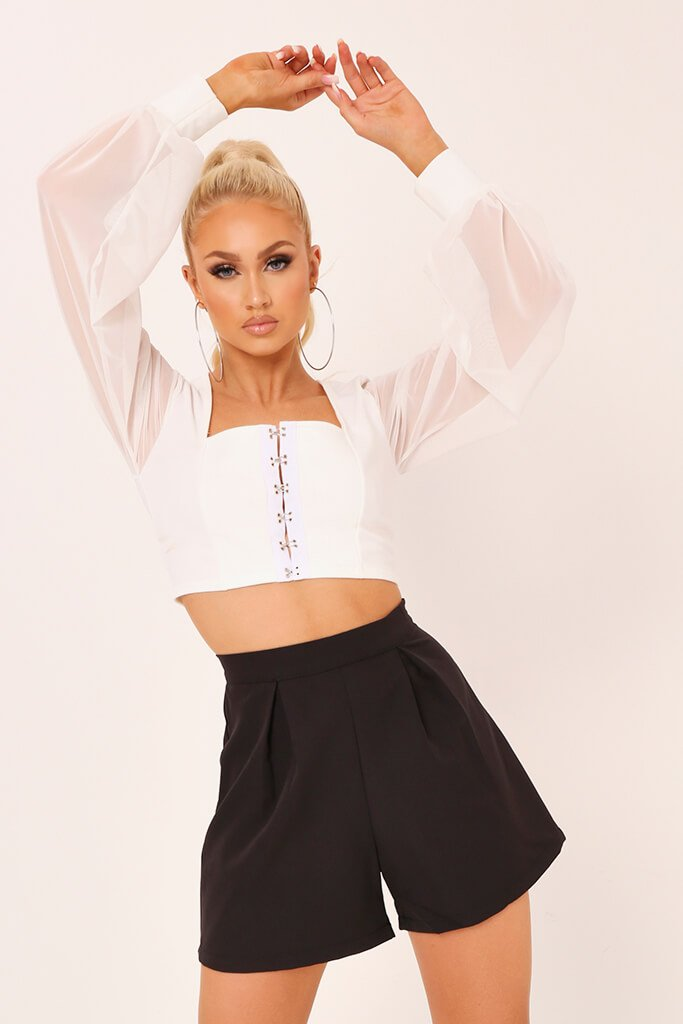 Black High Waisted Inverted Pleat Shorts