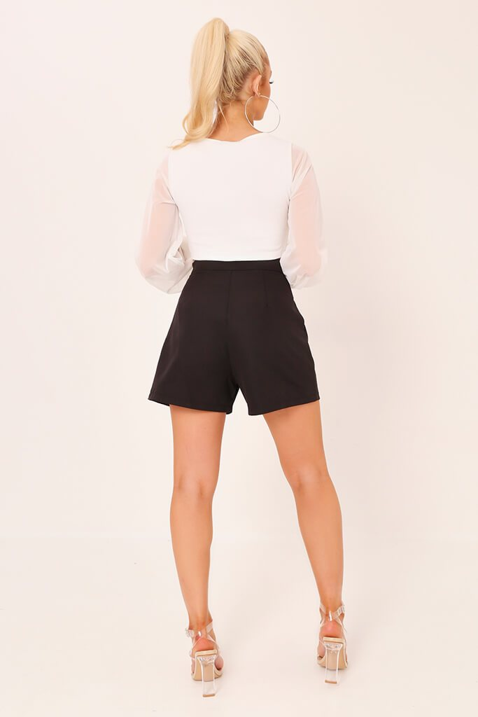 Black High Waisted Inverted Pleat Shorts view 5