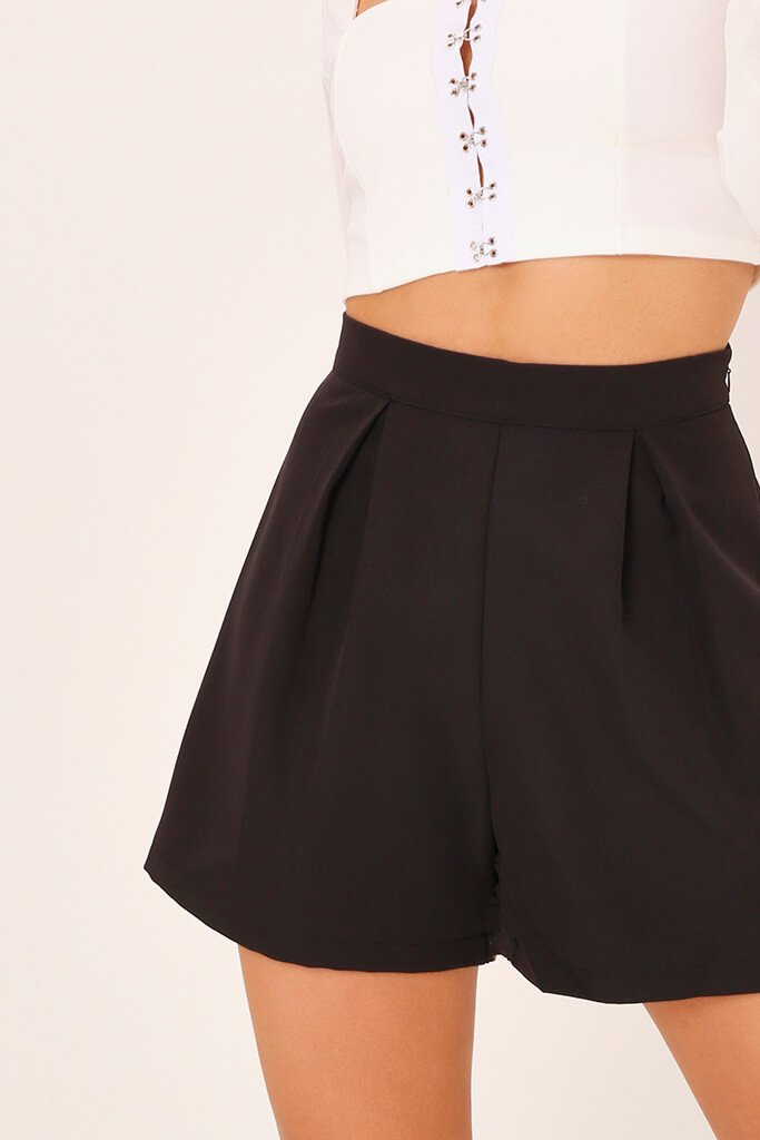 Black High Waisted Inverted Pleat Shorts view 4