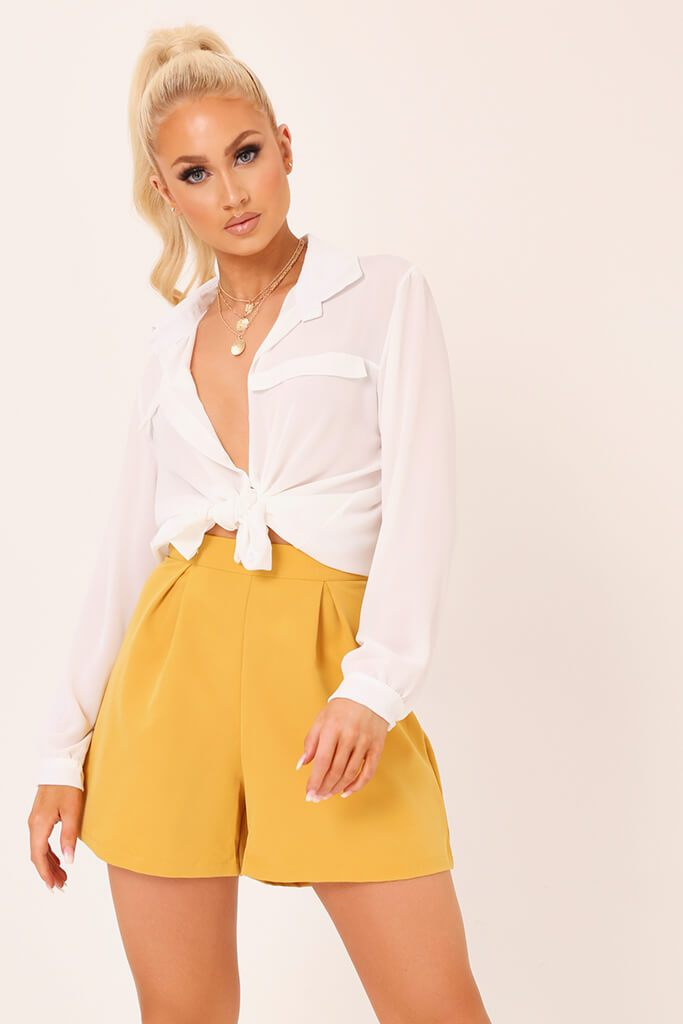 Honeydew High Waisted Inverted Pleat Shorts