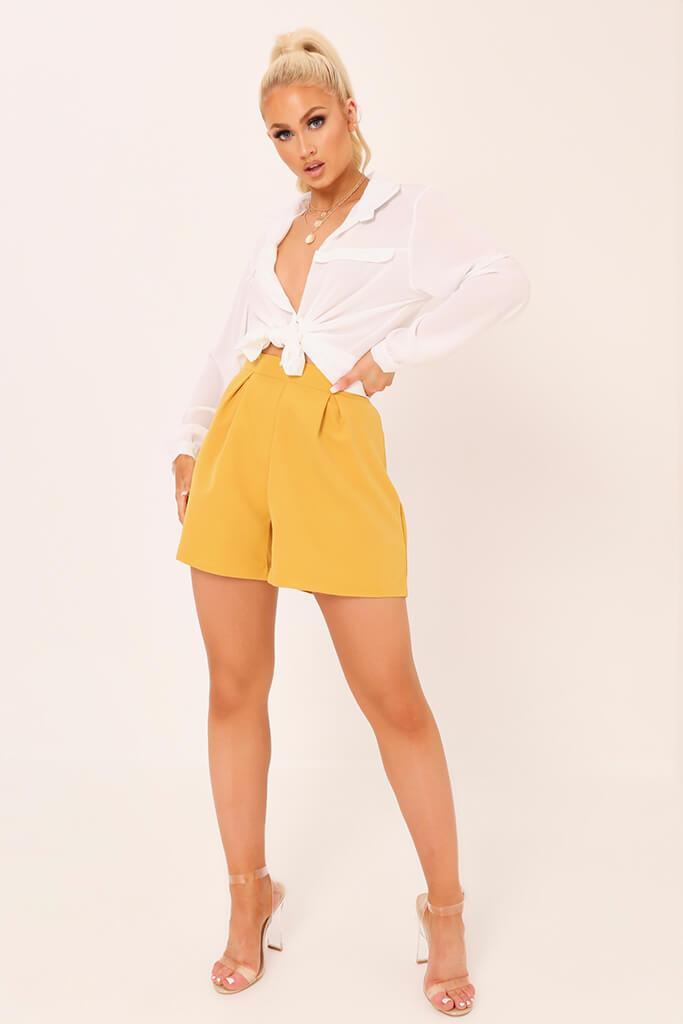 Honeydew High Waisted Inverted Pleat Shorts view 2