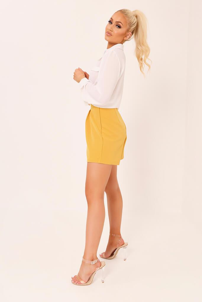 Honeydew High Waisted Inverted Pleat Shorts view 3
