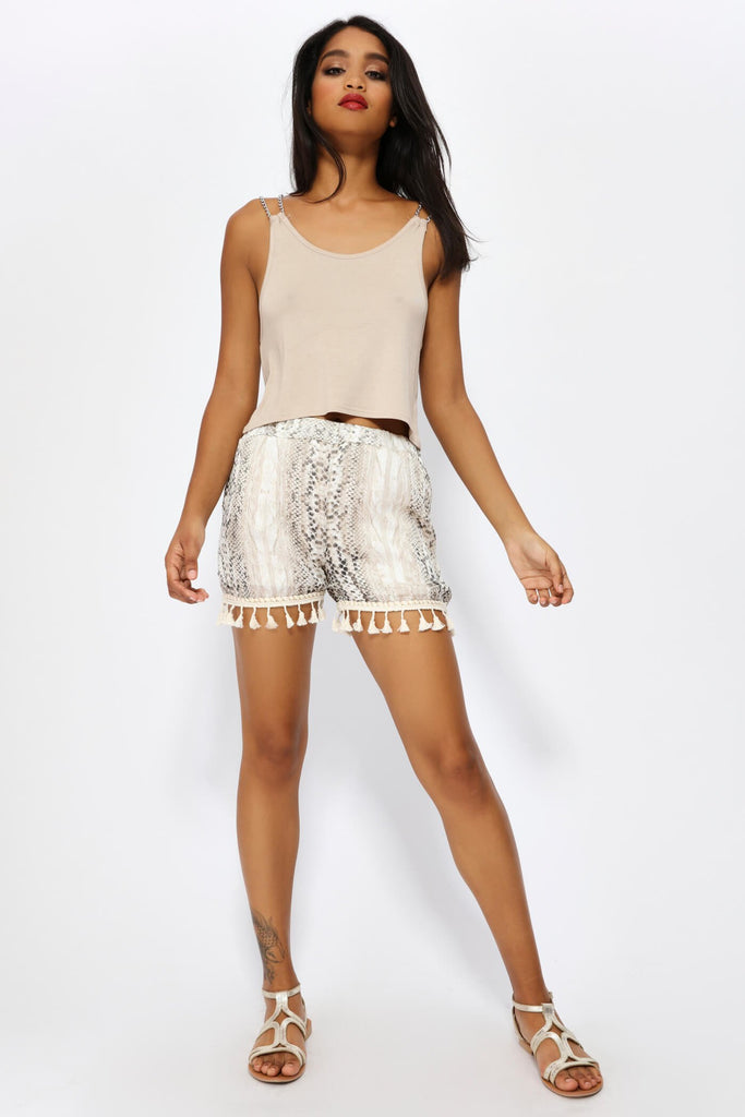 Beige Snake Prints Shorts