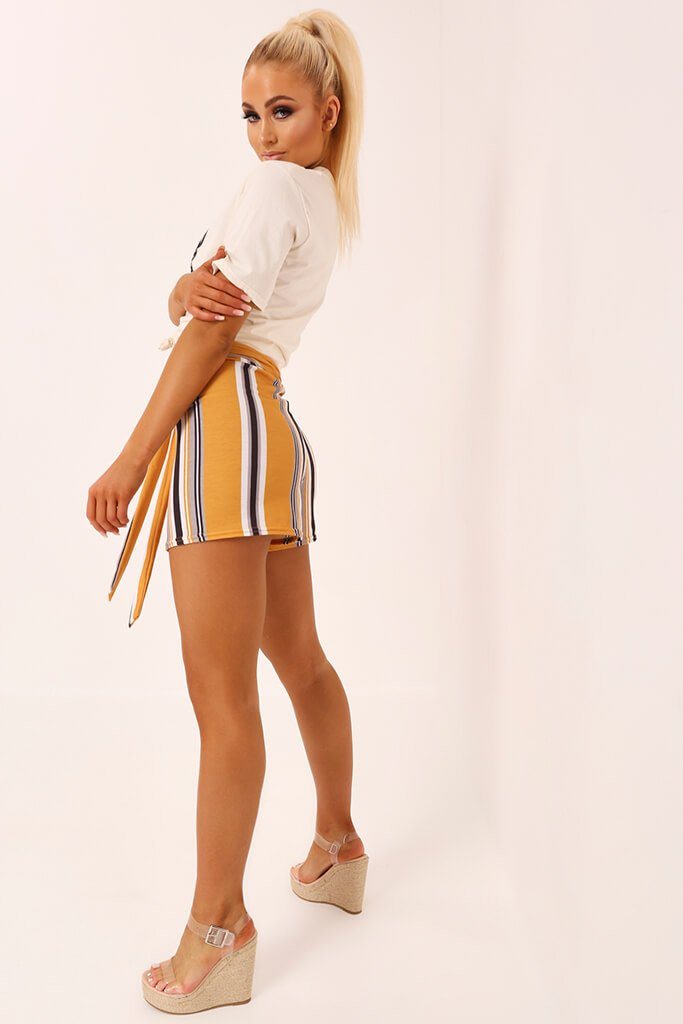 Mustard Stripe High Waist Tie Shorts view 3