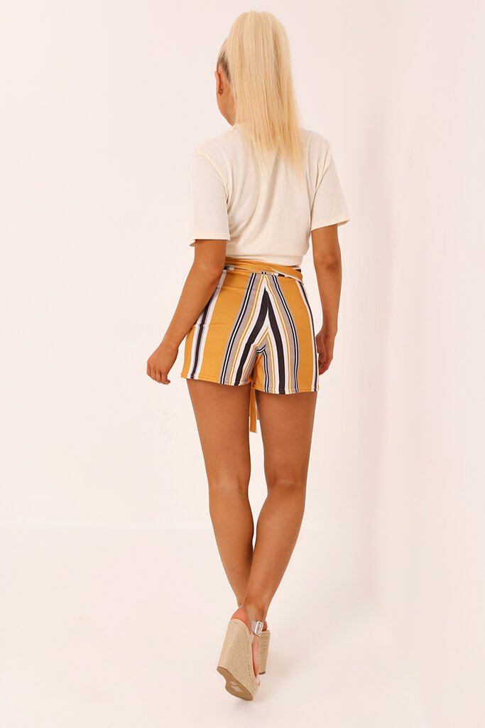 Mustard Stripe High Waist Tie Shorts view 5