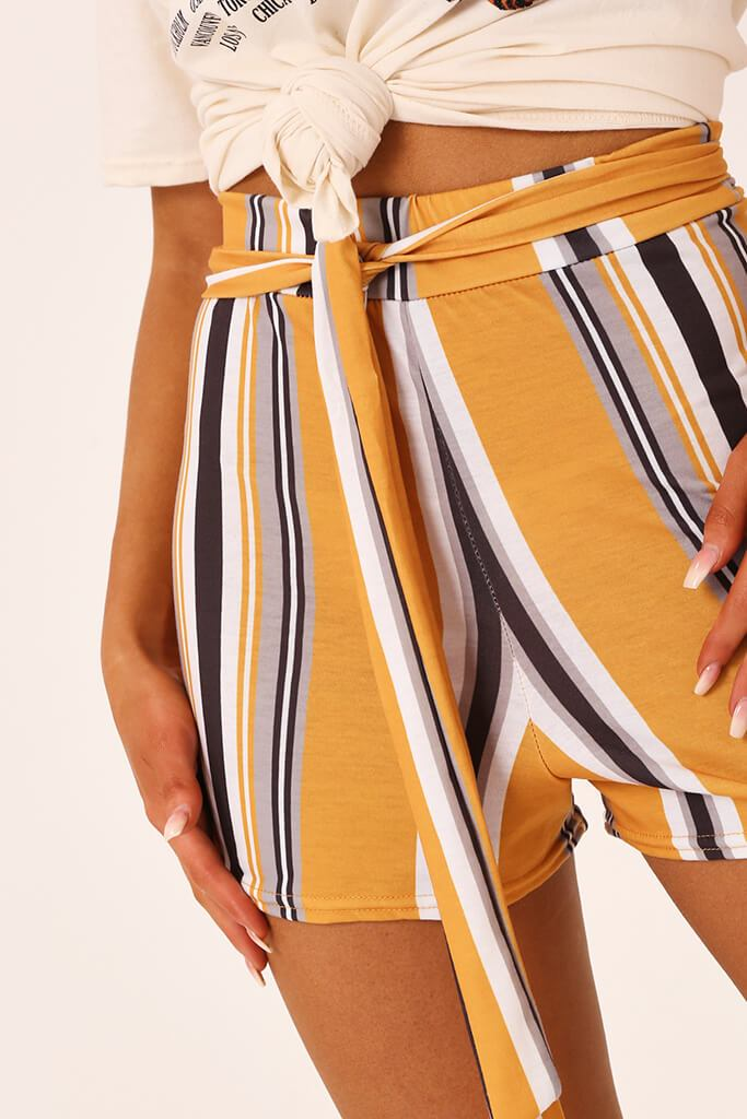 Mustard Stripe High Waist Tie Shorts view 4