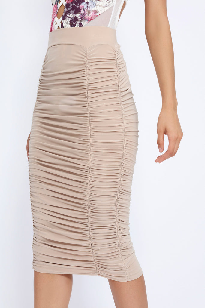 Stone Ruched Midi Skirt