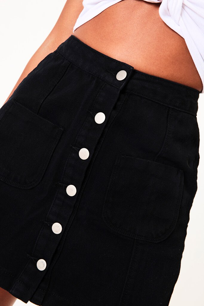 Black Button A-Line Denim Mini Skirt view 4