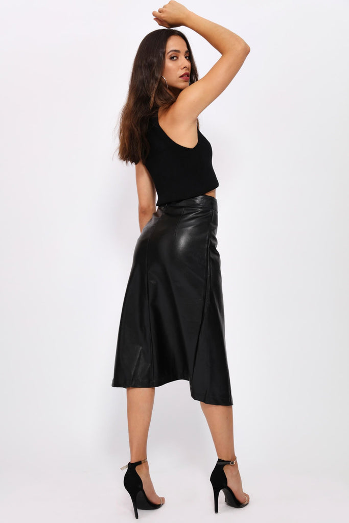 Black Pu Belted Midi Skirt
