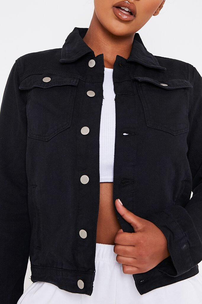 Black Long Button Up Denim Jacket view 4