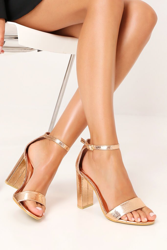 Rose Gold Strappy Block High Heels view 2