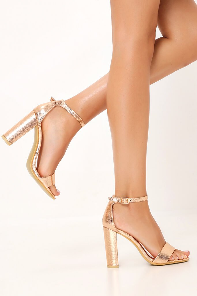 Rose Gold Strappy Block High Heels
