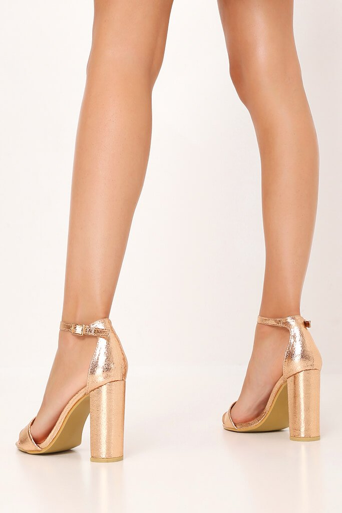 Rose Gold Strappy Block High Heels view 3