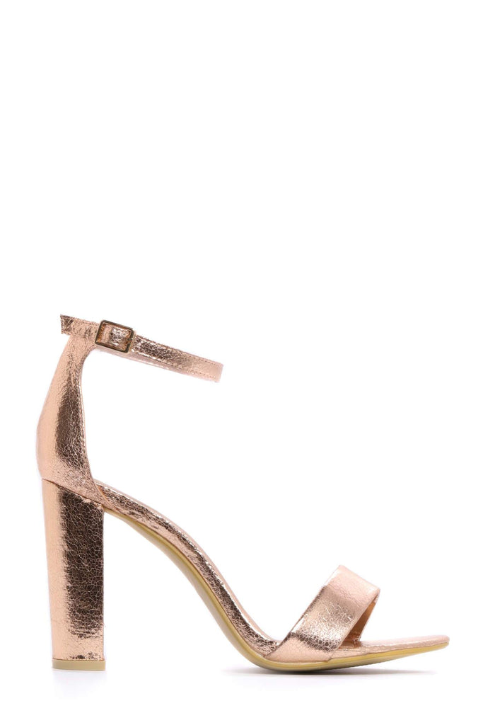 Rose Gold Strappy Block High Heels view 4
