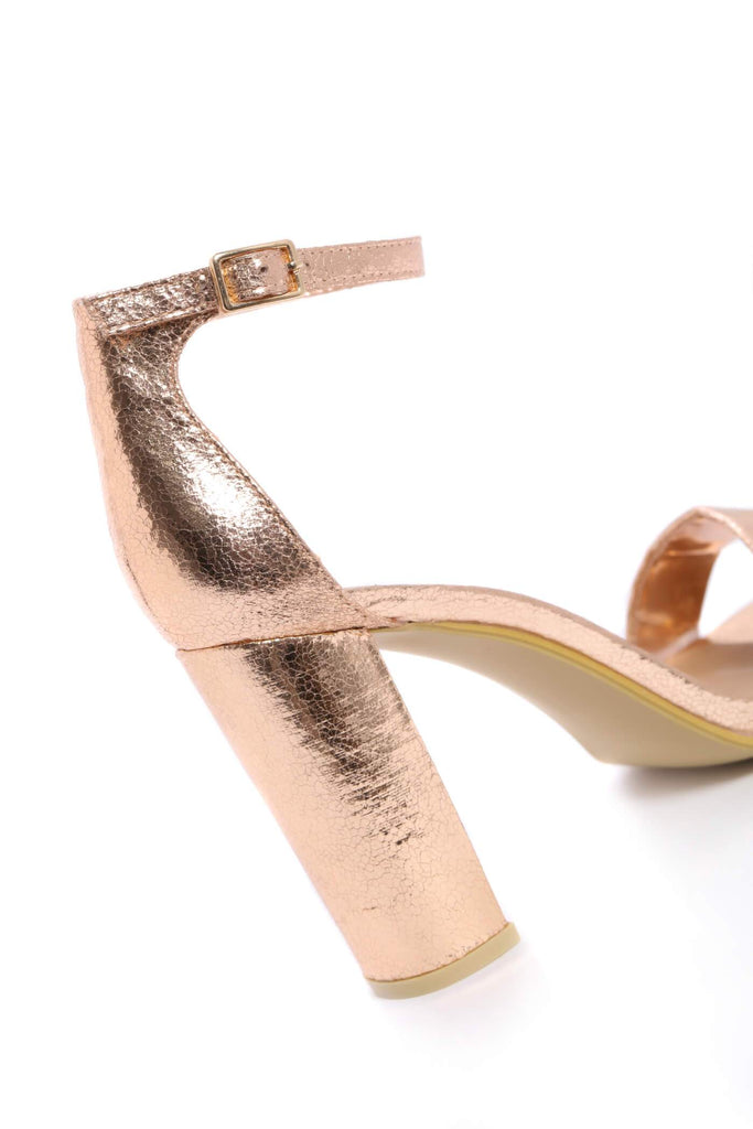 Rose Gold Strappy Block High Heels view 5