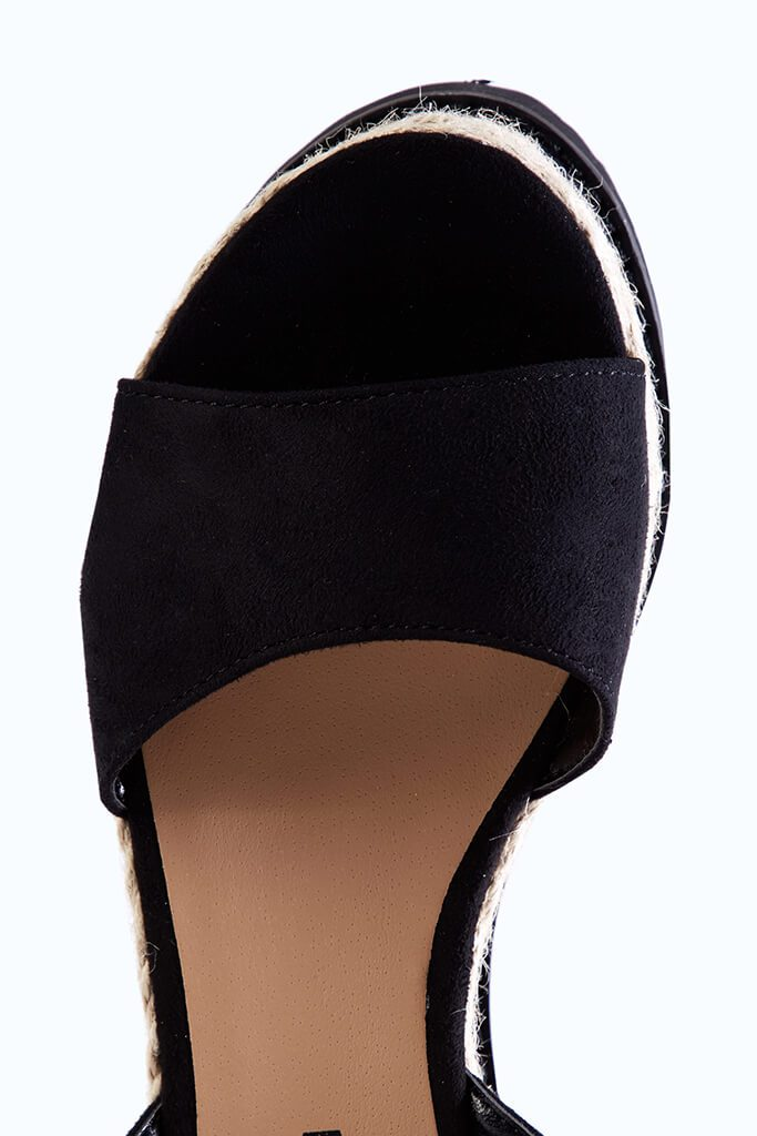 Black Wedge Open Toe Espadrilles view 3