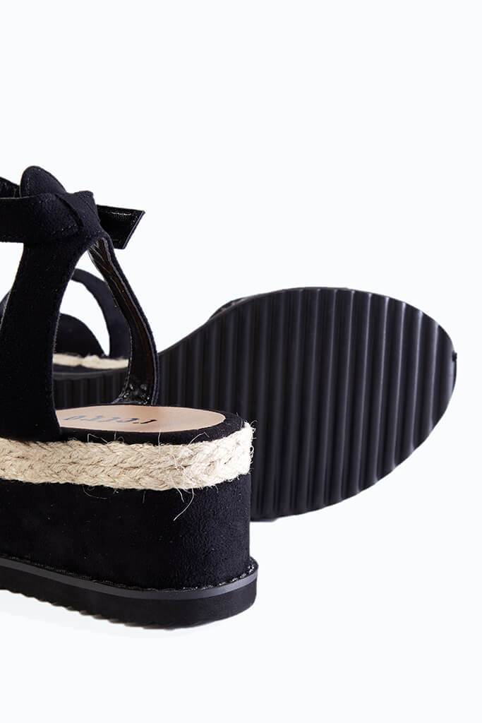 Black Wedge Open Toe Espadrilles view 4