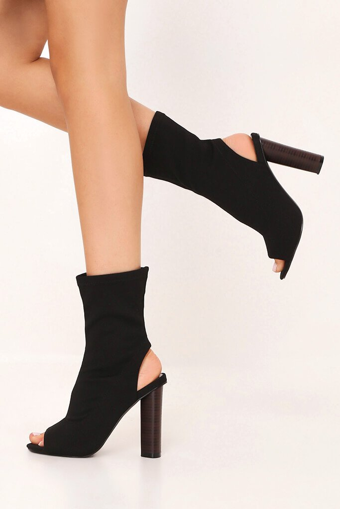 Black Block Heel Sock Shoe Boots
