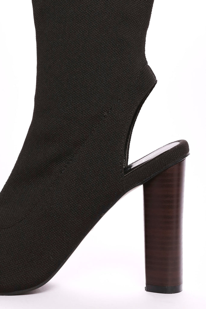 Black Block Heel Sock Shoe Boots view 4