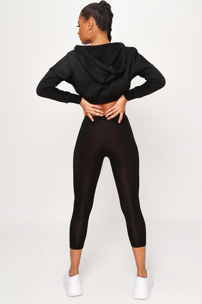 Black High Waisted Jersey Cropped Leggings view 5