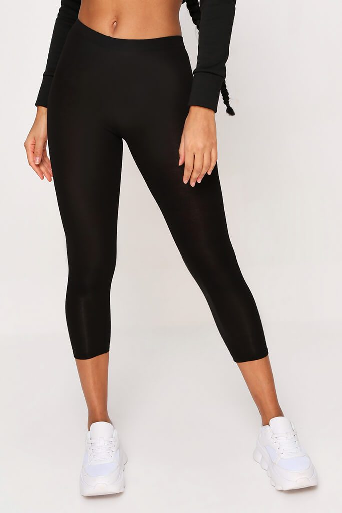 Black High Waisted Jersey Cropped Leggings view 2